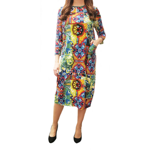 Rainbow Print Bubble Pocket Dress
