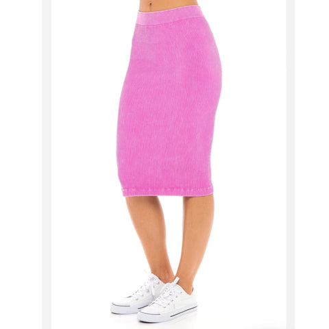 Ribbed One Size Skirt: Berry