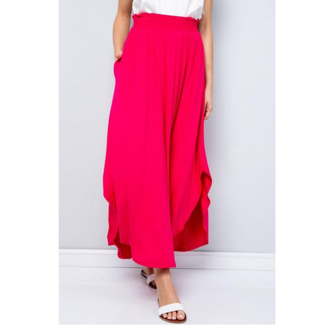 Tulip Top Assymetrical Maxi Skirt: Fushia