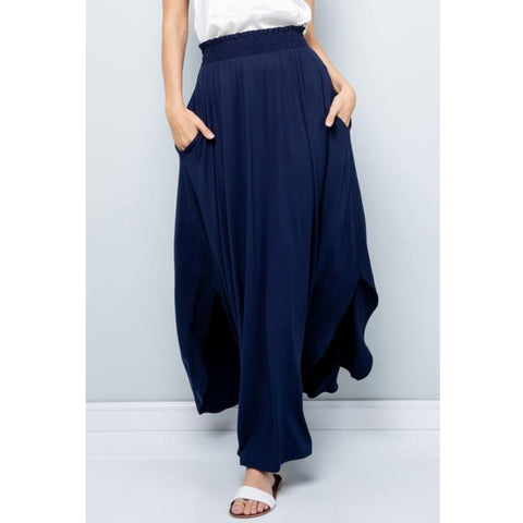 Tulip Top Assymetrical Maxi Skirt: Navy