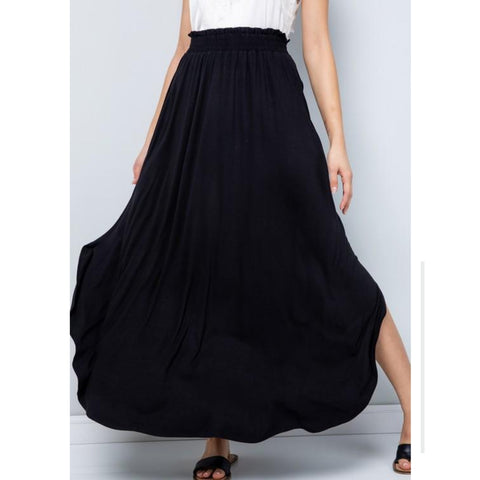Tulip Top Assymetrical Maxi Skirt: Black