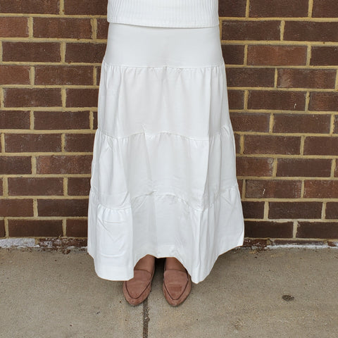 Tiered Midi Maxi Skirt: White