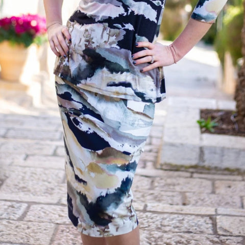 Water Color Pencil Skirt by Daniella Faye