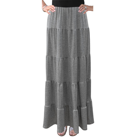 Tiered Maxi Skirt: Grey