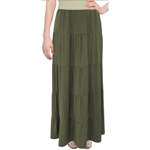 Tiered Maxi Skirt: Olive