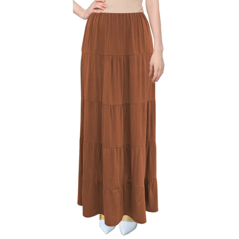 Tiered Maxi Skirt: Rust