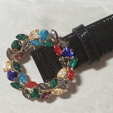 Rainbow Jeweled Buckle Belt