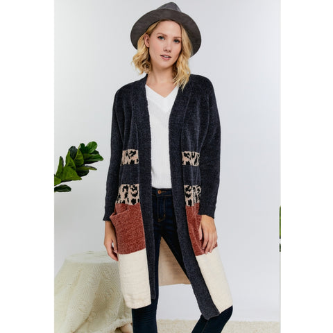 Chenille Colorblock Cardigan