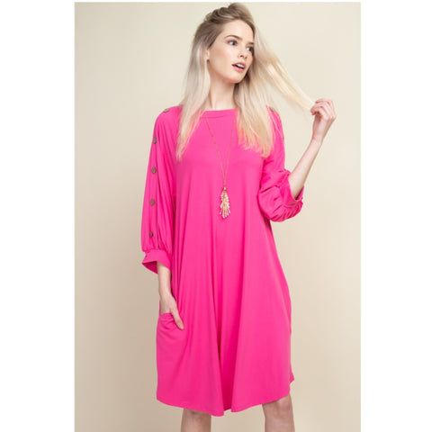 Fushia Button Dress