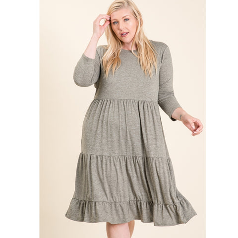 Tiered Teri Babydoll Dress: Hunter Green