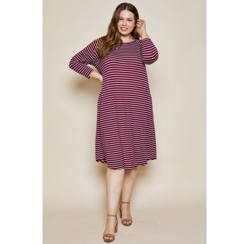 Heathered Striped Swing Dress: Light Grey/Ivory