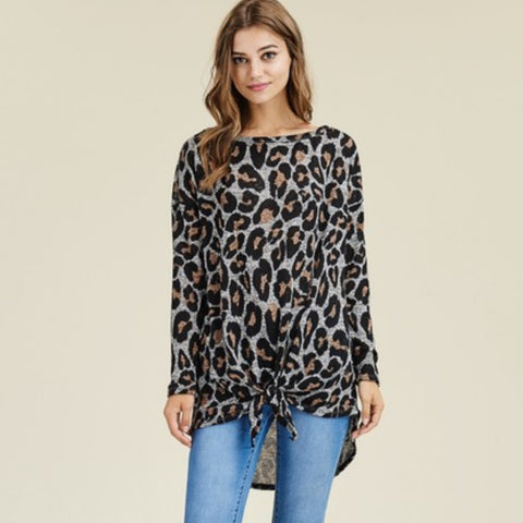 Hacci Knit Leopard Tie Top: 2 colors