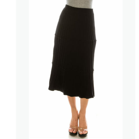 Ribbed Midi Skirt by Yal: Black