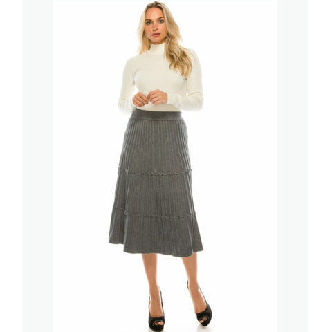Ribbed Knit Skirt by Yal: Grey