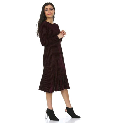 Aya Fit and Flare Dress: Burgundy