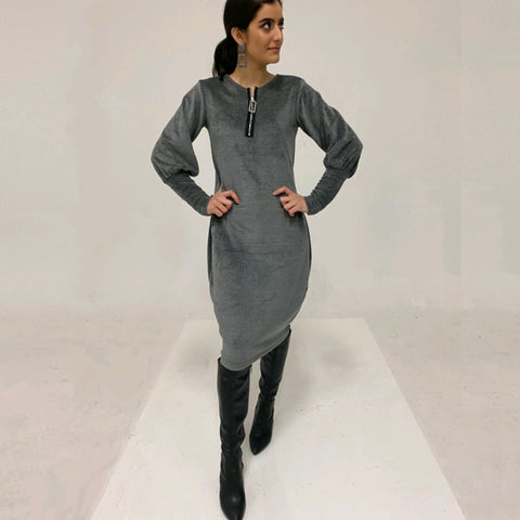 Skyler Chenille Cocoon Dress: Grey