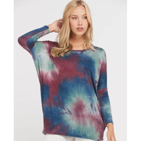 Tie Dye Dolman Top: Teal/Burgundy