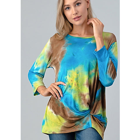 Twist Tie Dye Top: Blue/Green/Brown