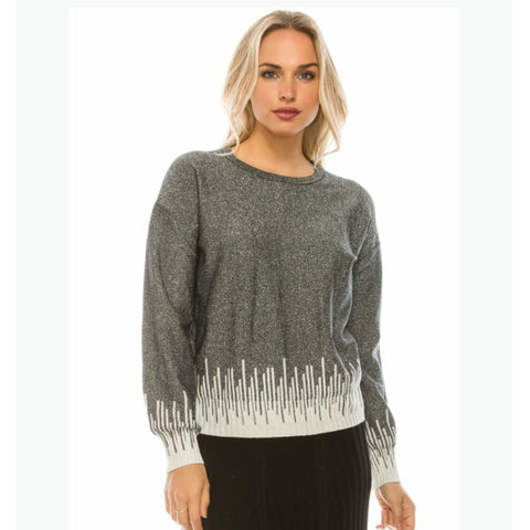 Metallic Silver Frosted Sweater by Yal