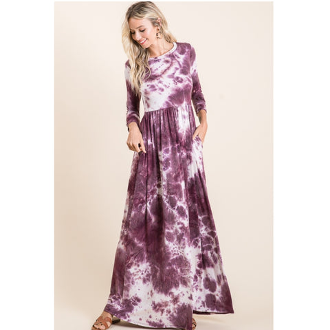 Tye Dye Maxi Dress: Purple