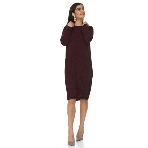 Shimmer Pleated Cocoon Dress: Burgundy