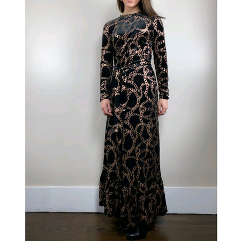 Golden Chain Velvet Maxi