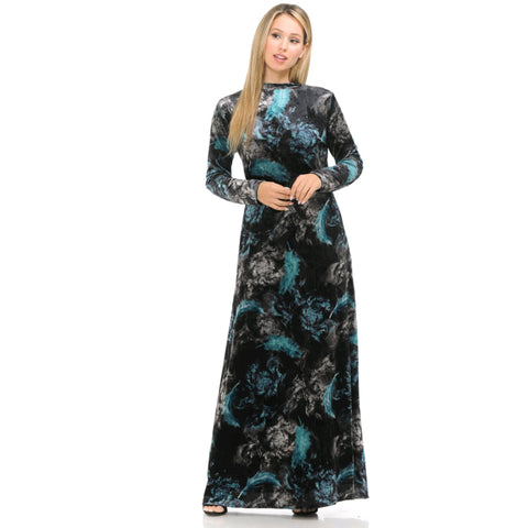 Black & Teal Feather Velvet Maxi