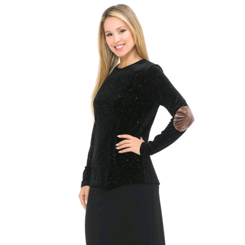 Glitter Ribbed Velvet Top: Black