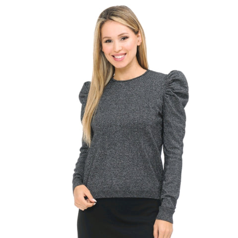 Ivee Shimmer Puff Sleeve Top: Black