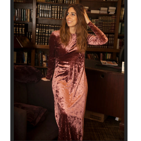 Rose Crushed Velvet Maxi by JackieO