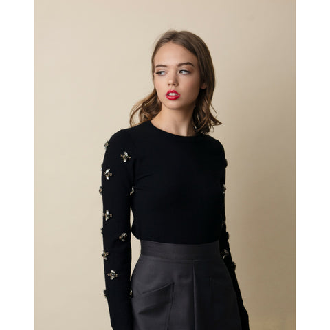 Acorn Knit Sweater: Black With Bees