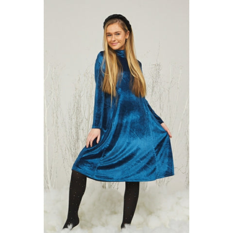 Kelly Velvet Dress: Teal