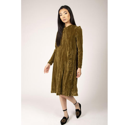 Crushed Velvet Side Button Dress: Olive