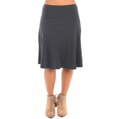 Ribbed Skye Skirt: Charcoal