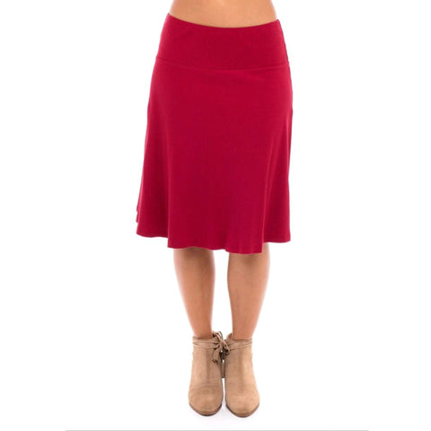 Ribbed Skye Skirt: Cherry