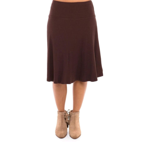 Ribbed Skye Skirt: Chocolate