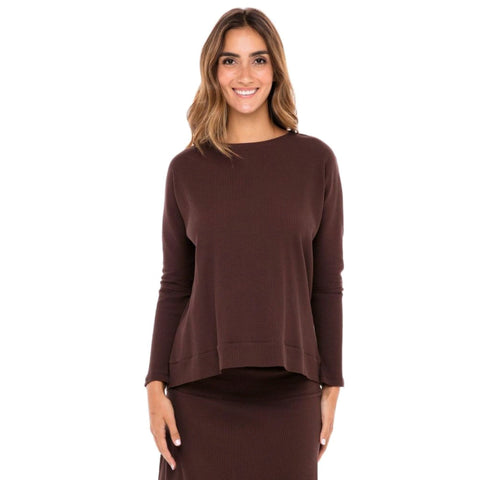 Ribbed Skye Top: Chocolate