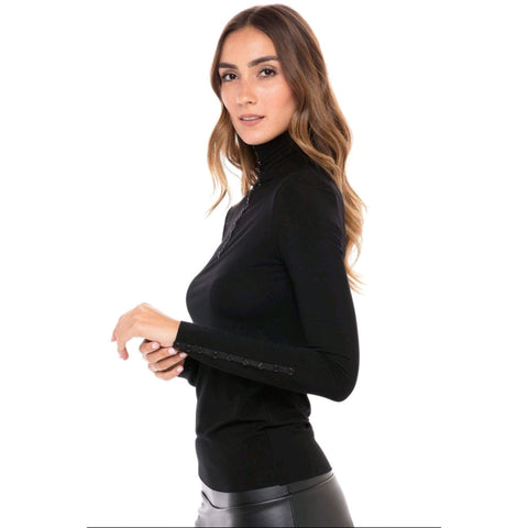 Lexi Turtleneck Tee: Black