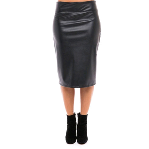 Leather Pencil Skirt: Black