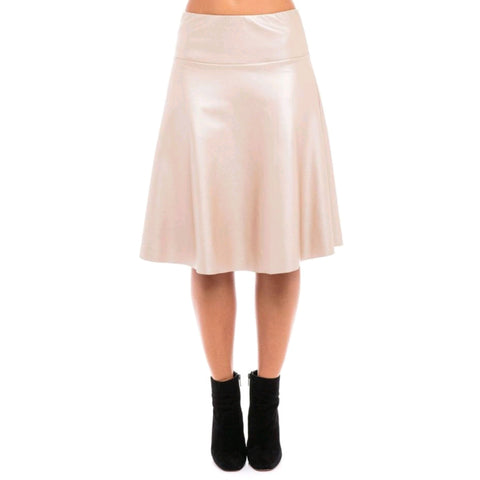 Leather Skye Skirt: Rose Gold