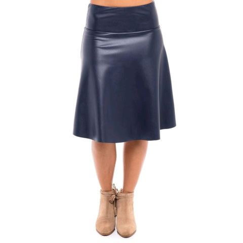 Leather Skye Skirt: Navy