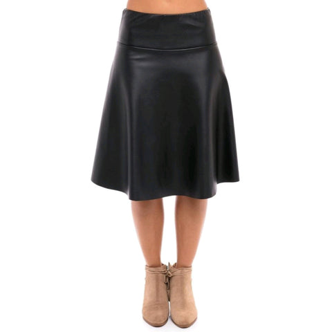 Leather Skye Skirt: Black