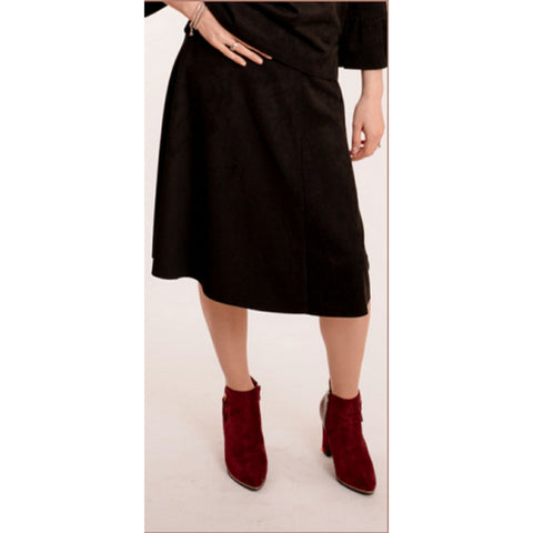 Suede Flare Skirt: BLACK