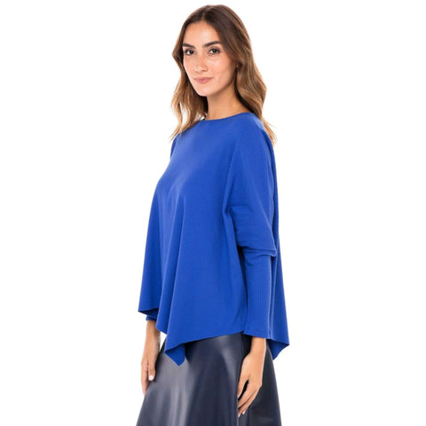 Ribbed Cotton Eden Top: Cobalt