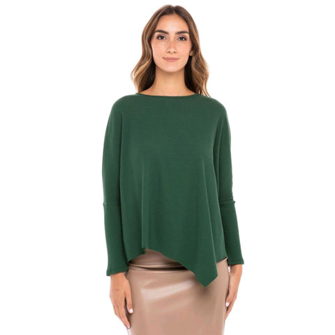 Ribbed Cotton Eden Top: Emerald