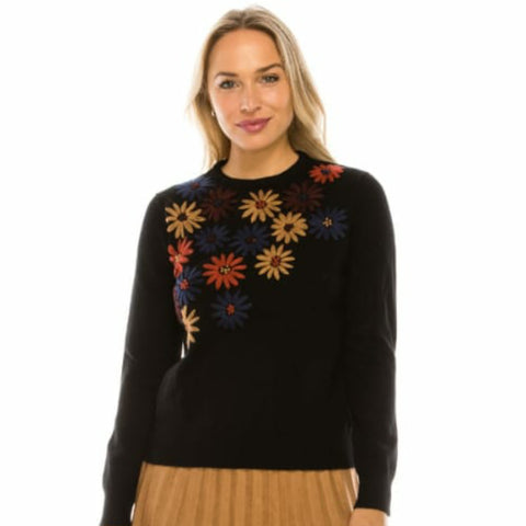 Embroidered Floral Sweater by Yal