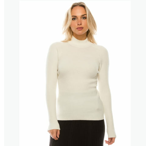 Mock Neck Sweater by Yal: White