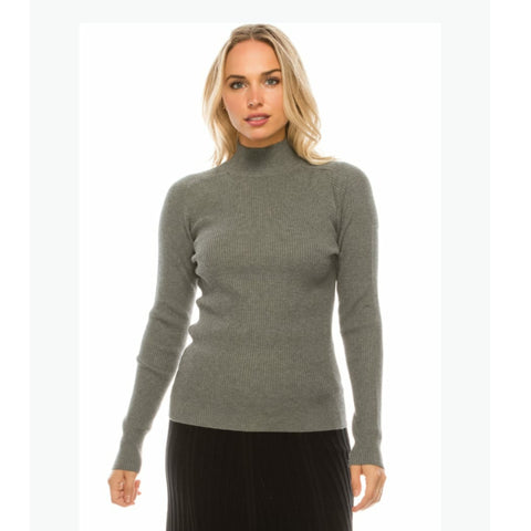 Mock Neck Sweater by Yal: Grey