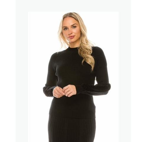 Mock Neck Sweater by Yal: Black