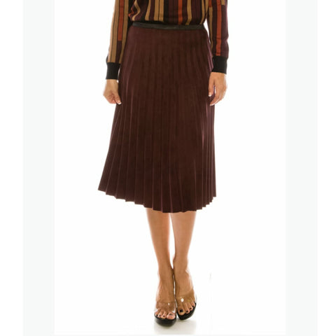 Pleated Skirt by Yal: Burgundy